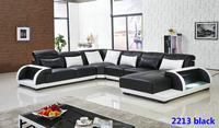 Unique design living room leather sofa 2213 black (1)