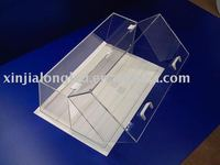 Transparent acrylic bread case with lid ,exquisite food showcase