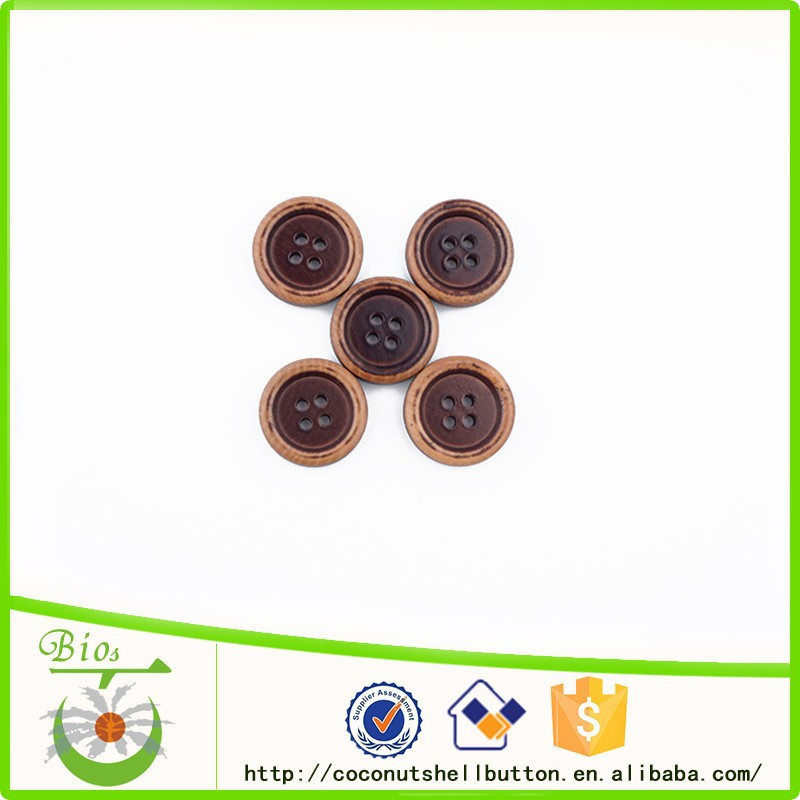 Worn out brown wooden men women car coat button clothing accessory