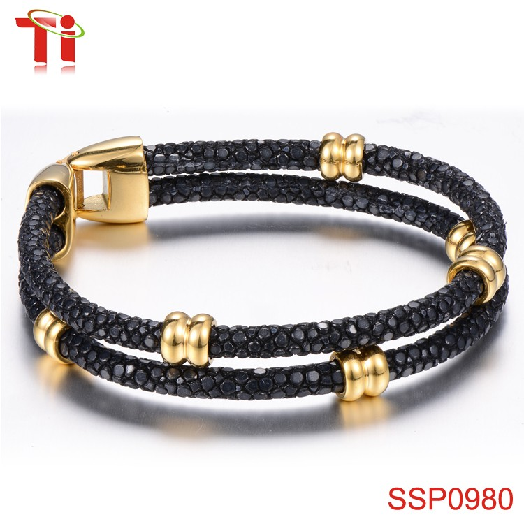 4mm black stingray jewelry leather bracelet women love bracelet, fitness bracelet with gold accessory