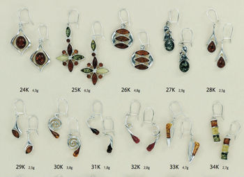 Baltic Amber and 925 Sterling Silver Jewelry Earrings Wholesale