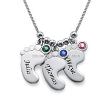 Factory Personalized Custom Made Mom Jewelry Gift Birthstone Baby Feet Pendant Necklace