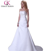 Grace Karin Ladies Sexy Wedding dress Strapless White Bridal Dresses CL3555