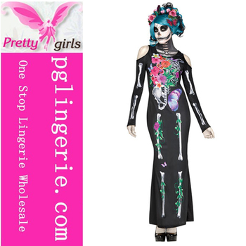 Skeleton Flower Zombie bride costume skull halloween costume dress for women