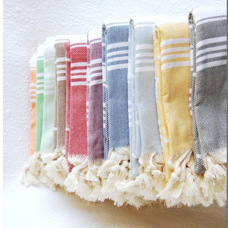 DM 487 wholesale stripe cotton Long fringes fouta towels bath 100% Genuine Tunisian Cotton softtextile turkish Towel
