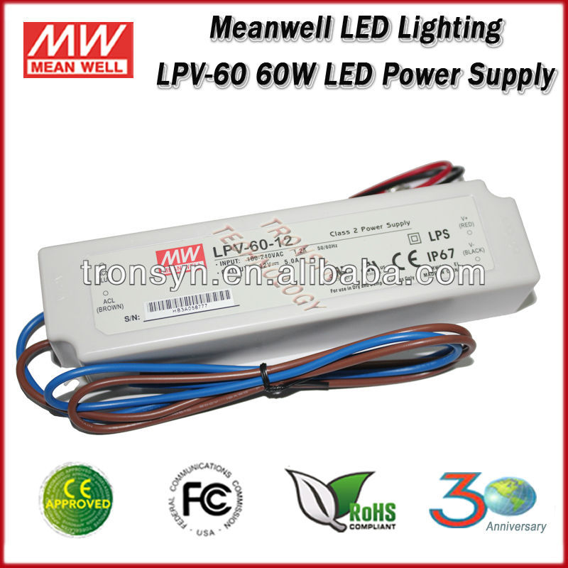 MeanWell Power Supply LPV-60-36 60W 36V IP67 Constant Voltage led light driver