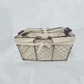 wholesale decorative iron baskets set with fabric liner