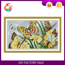 "100% cotton handwork Embroidery kit ""Happy butterfly"" cross stitch kit"