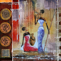 Custom order wholesale stretched canvas prints,africa people printed on canvas 65076