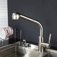 Low Cost Brushed Nickel Ceramic Cartridge Stainless Steel Kitchen Faucets Pull Out