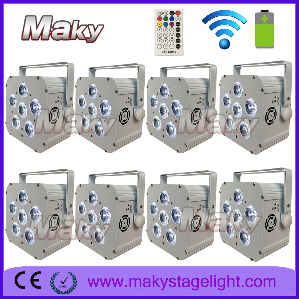2017 guangzhou uplighter battery wireless led par light 6 X 6 in 1 colored change flat par can