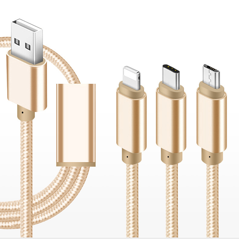 <strong>3</strong> in 1 Multi Port Charge for iPhone Android Custom USB Cable