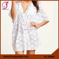 38008 New Arrival Woman Good Quality Cotton White Lace Sexy V Neck-line Short Beach Kaftans