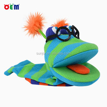 Creative Design Knitted Stripy Hand Puppet Toys with Sound