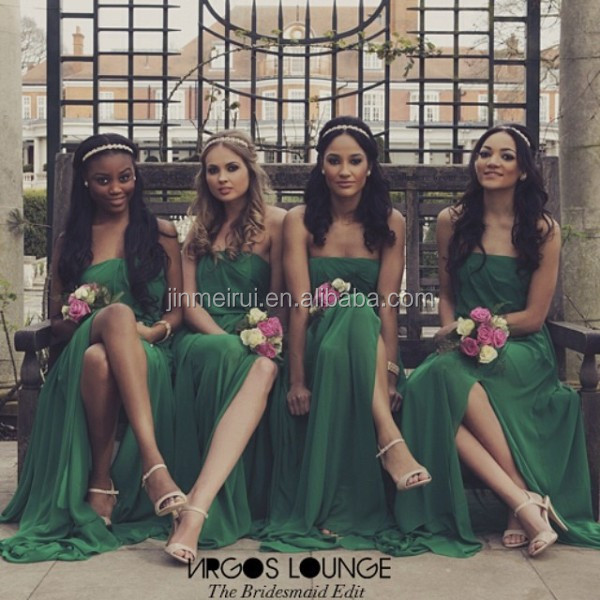 Fashionable Emerald Green Long Slit Wedding Party Dress For Bridesmaid 2015 Wholesale Strapless Backless Side Slit Dress BD254