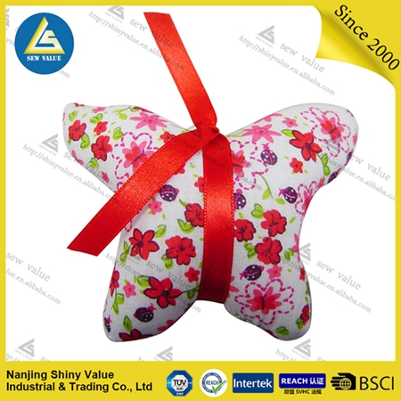 100% cotton Red Floral butterfly shape pin cushions