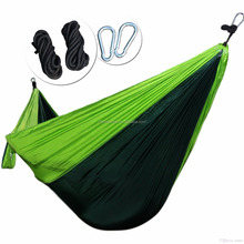 Portable Nylon Camping Hammock Single Double Outdoor Hammock Chair Swing Bed With 2 D-shape Carabiner Tree Straps Carry Bag