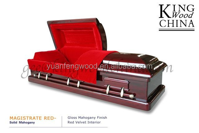 MAGISTRATE RED Solid Mahogany flat packed coffin funeral coffin zinc handle germany coffin