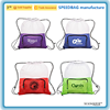 new product front zipper pocket drawstring bag colorful polyester mesh drawstring beach bag