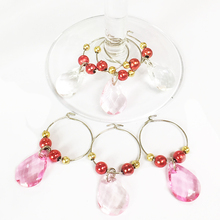 Popular product for valentine's day heart type acrylic wine glass charms