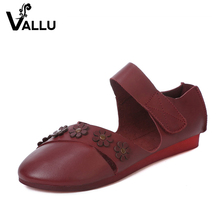hook & loop new style genuine leather super comfort women flat shoes factory price 2017