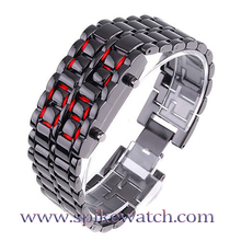 Lava Style All Metal Japanese Iron Samurai Led Watch