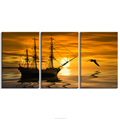 Golden Seascape Landscape Canvas Printing Sailing Boat Seabird Picture Printed on Canvas Bedroom Living Room Decoration