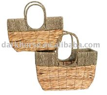 Fixed Handle Grass and Banana Leaf Woven Basket