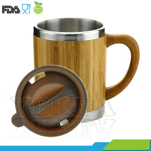 high quality stainless steel vacuum bamboo coffee cup
