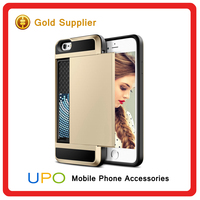 Cell Phone Hybrid Armor Phone Case Cover With Slide Card Slot For iphone 6