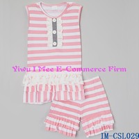 Affordable Summer Kids Clothing Sets Girls Pink Stripe Ruffle Shorts Boutique Outfits for Toddlers IM-CSL029
