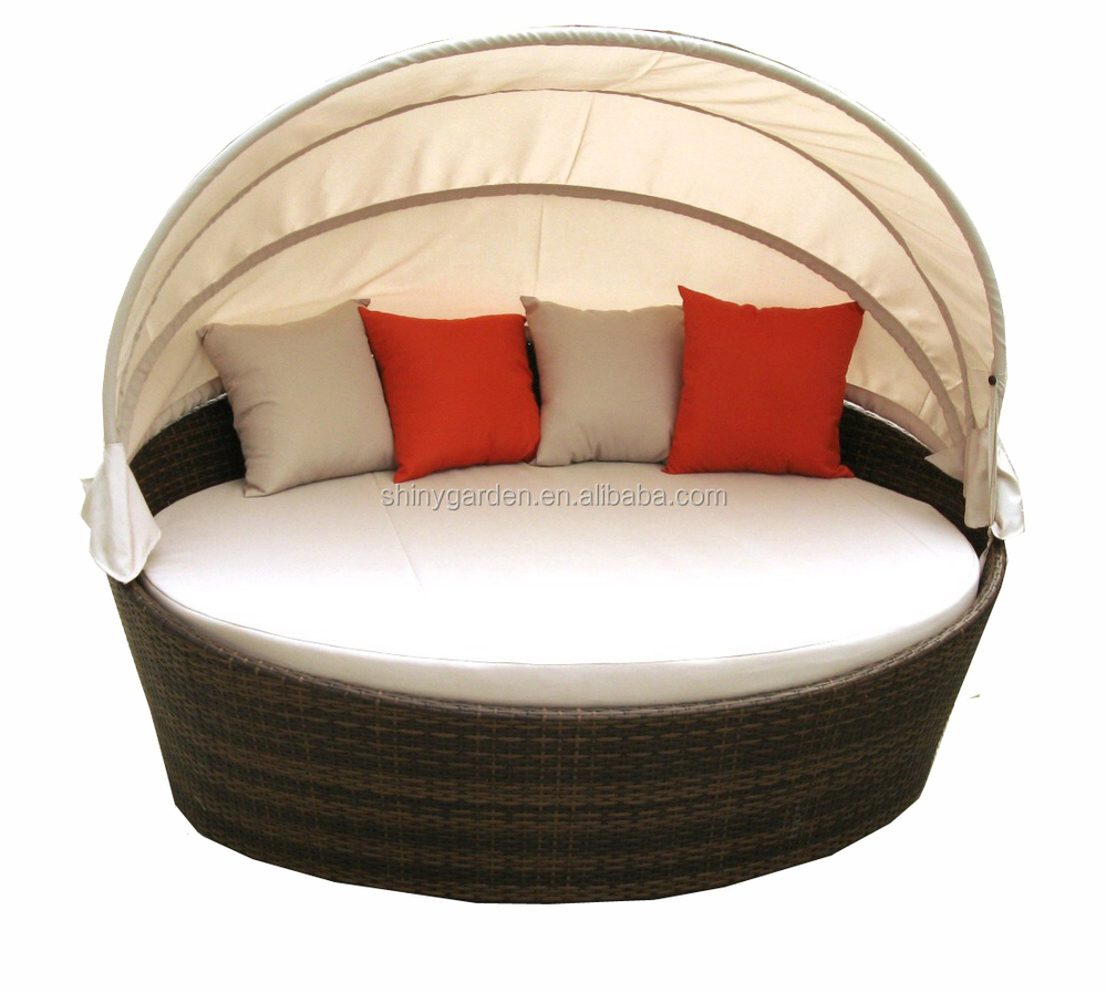 Rattan Round Shaped Outdoor Lounge Bed With Canopy Round