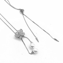 New Design Personalized Butterfly Diamond Jewelry Silver Charm Necklace With Pearl