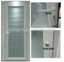 Guangzhou Factory Double glass aluminum doors with blinds inside