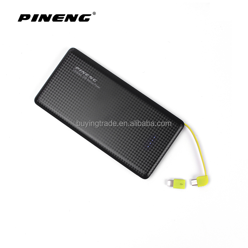 Pineng 10000mAh Dual USB Port Power Bank 5V/2.1A Built-in Cable Emergency Portable Charger PN-951