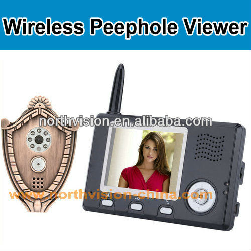 2.4GHZ wireless digital peephole with 3.5 inch lcd monitor, intercom, photo recording, doorbell