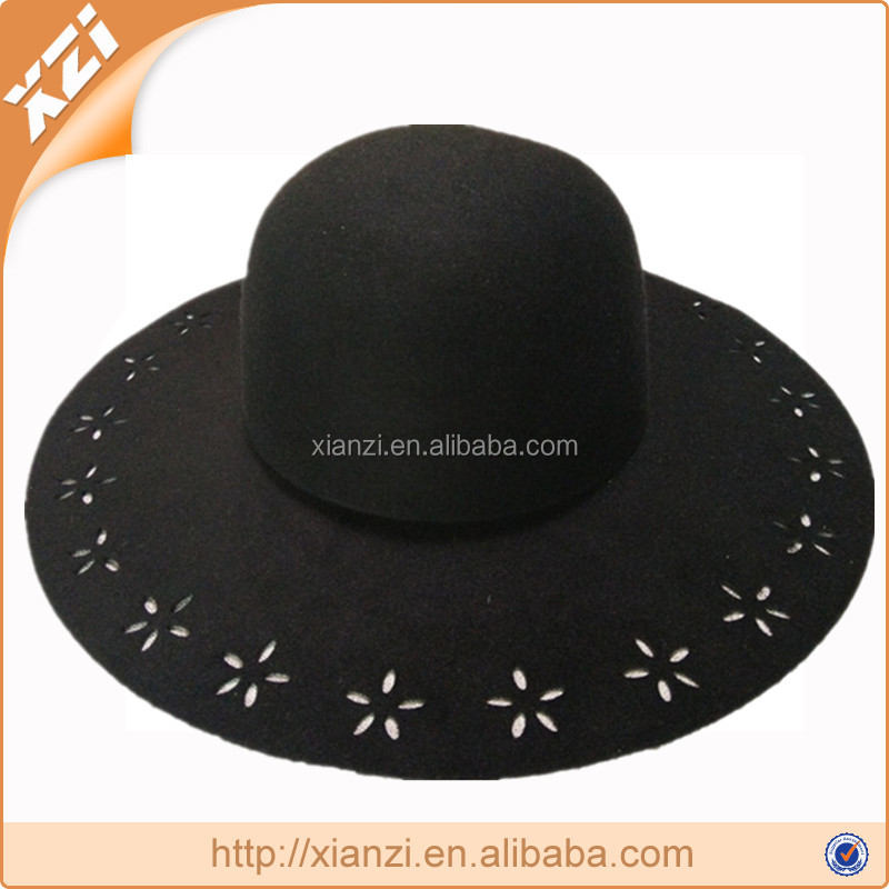 2016 fashion wide brim felt hat pattern/wool felt hat/felt hillbilly hat