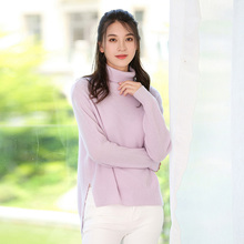 High-necked women's new knitting cashmere sweaters and pure color cashmere sweater