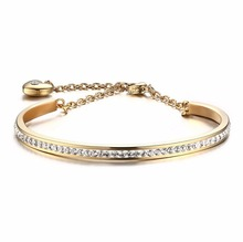 4mm Wide Wholesale Stainless Steel Gold Cuff bangles models design for Women With Rhinestone SZB016