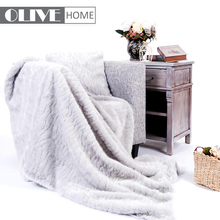 OL17FU009 Hand Knitted Super Cream Real Rex Rabbit Fur Throw Blanket With Cushion