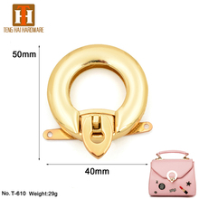 Hot sale circular push lock metal bag buckle purse accessory for handbags