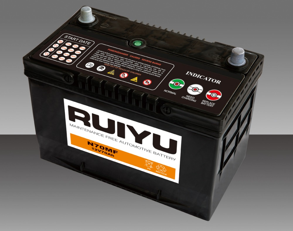 12V70AH Super Diesel Engine Starting Maintenance Free Battery Ruiyu Brand Automobile Car Battery 65D31L