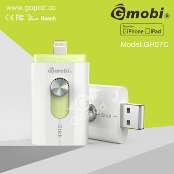 Worldwide Popular Gmobi iStick Phone OTG USB External Flash Memory Made For iPhone/iPad/Computer