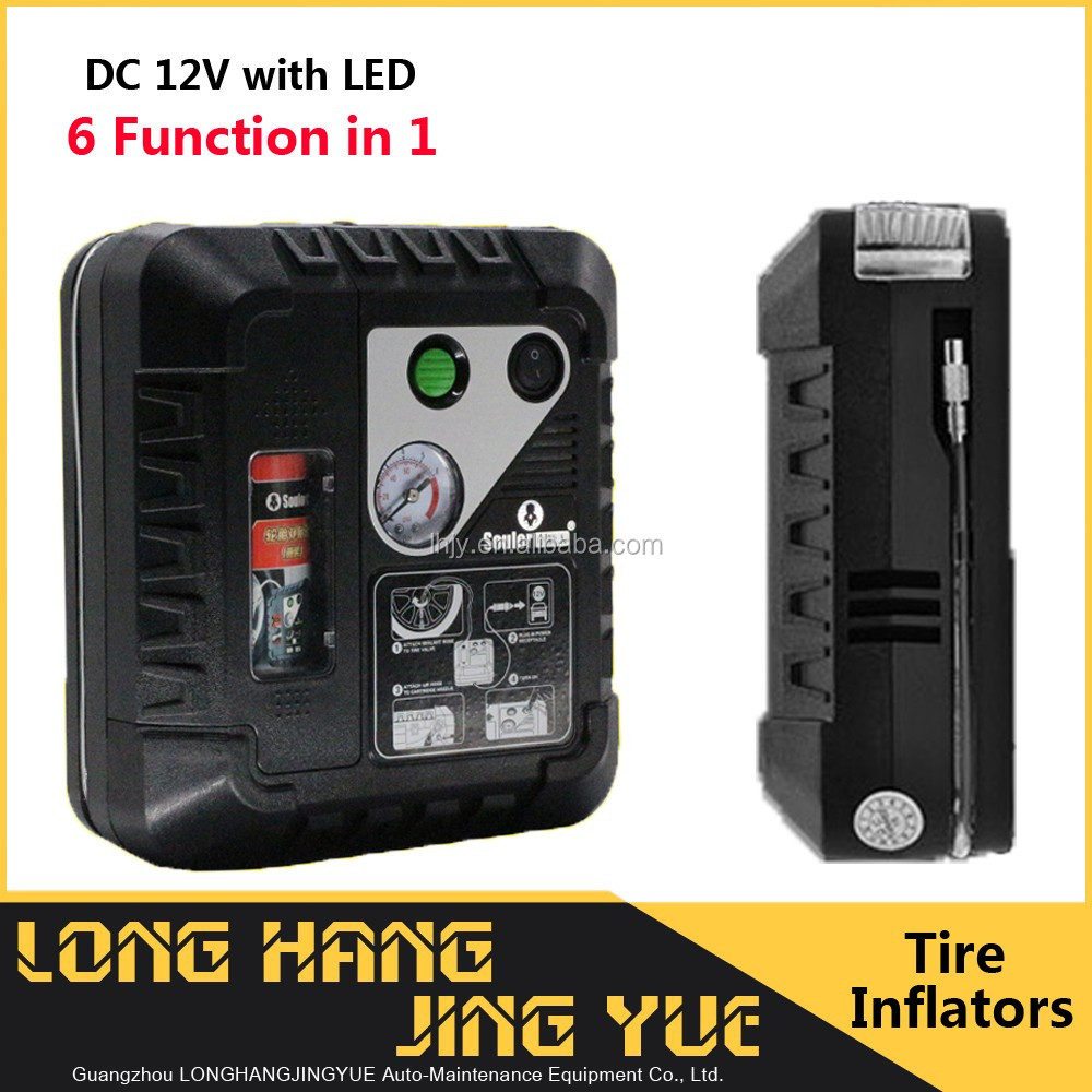 portable tire inflator with sealant 12v heavy duty air compressor with SOS LED air inflator 12v portable tyre