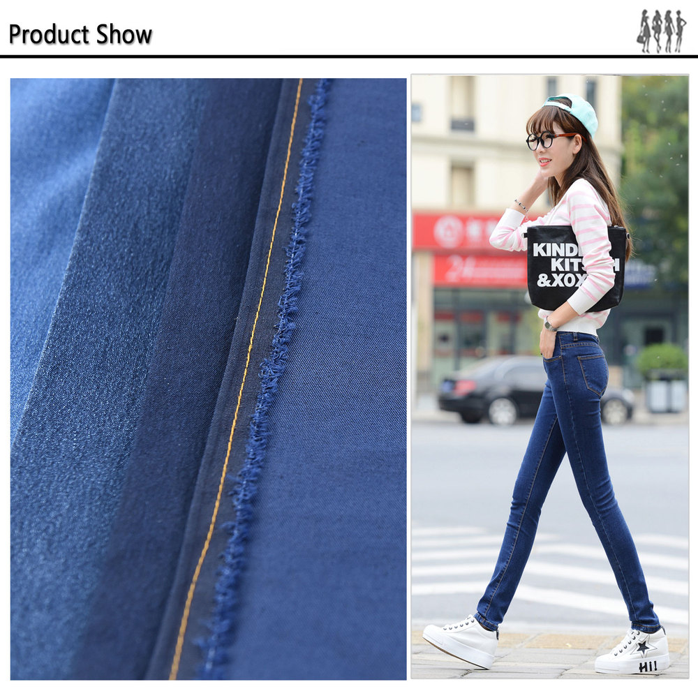 indigo classic blue stretchable denim look twill fabric for ladies shirt