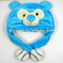 lovely blue plush monkey knit animal hat