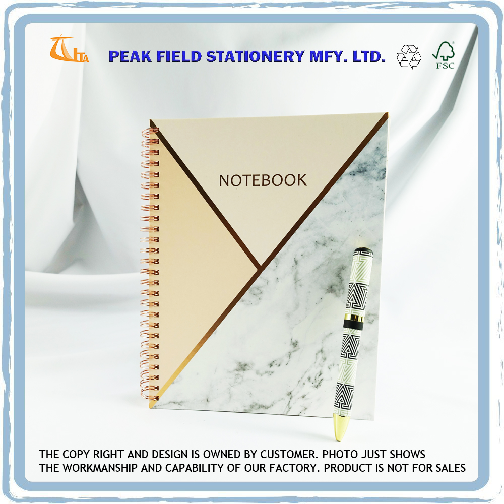 High Quality Custom Printing Composition Marble Gold Foil Cover Spiral Wire Notebook