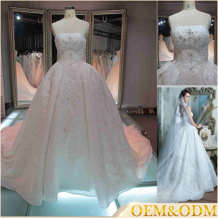 2016 alibaba guangzhou polyester handmade beaded cheap bridal plain ball gown wedding dresses
