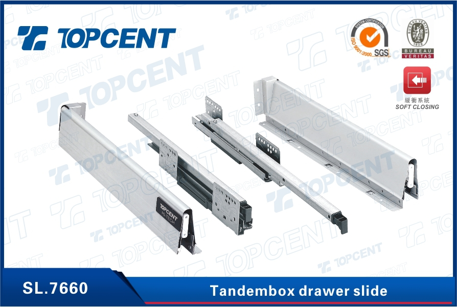 [SL.7661] Full extension kitchen soft close drawer slide
