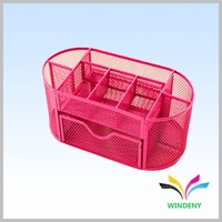 Office accessories supplies red metal mesh 9 compartment desk organizer caddy
